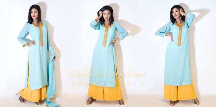 from Rukhsana Esrar Runi RTW Spring/Summer Collection 2015 #mint #yellow #kameez #pret #salwarkameez #readytowear #rtw #casual #bengali #bangladeshi #desi #casualwear #designer #RukhsanaEsrarRuni