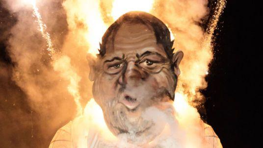 An effigy of film producer Harvey Weinstein is burned during a fireworks display at Edenbridge Bonfire Night