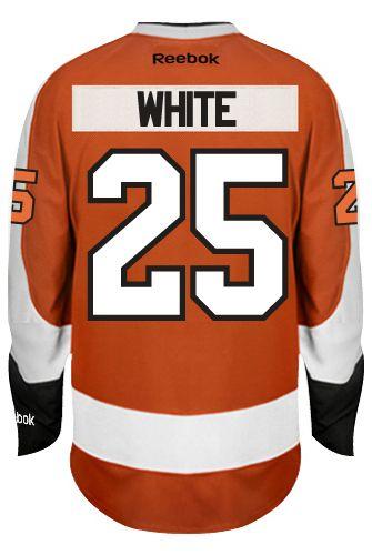 newest collection 658ae 6dda0 ... Philadelphia Flyers Ryan WHITE 25 Official Home Reebok Premier Replica  NHL Hockey Jersey (HAND ...