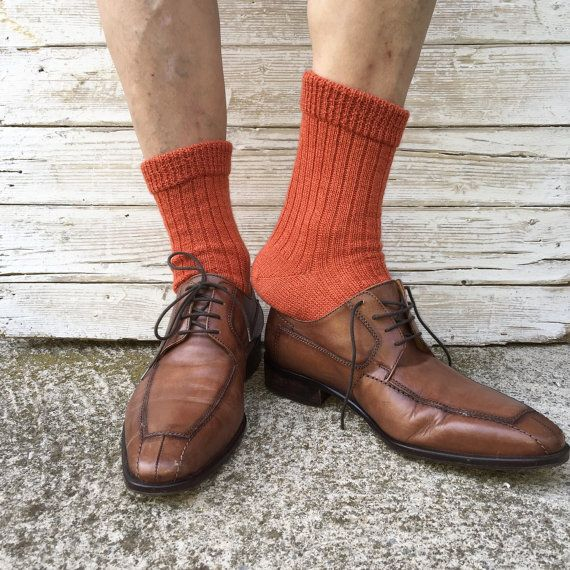 Man knit socks autumn colors socks for him made by TheWoolCottage