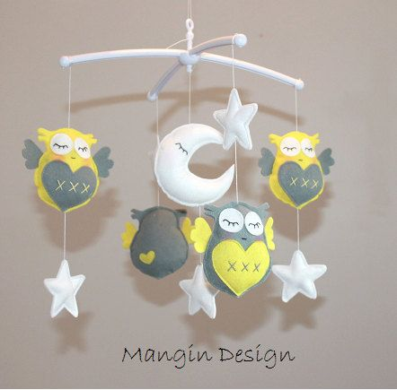 SALEGorgeous cot mobile yellow grey owl musical by ManginDesign