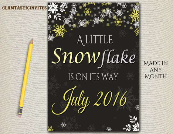 Winter Baby Shower Annoucement, Little Snowflake, New Baby, Baby on the Way, Chalkboard Baby Sign, DIGITAL, A little snowflake is on its way