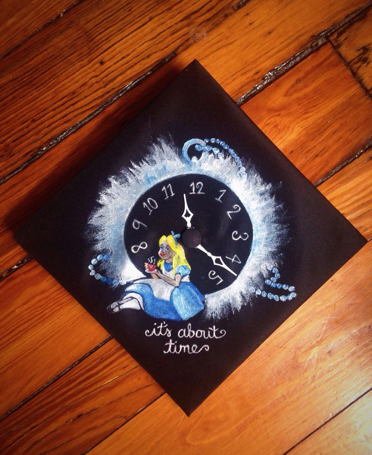 """Alice in Wonderland graduation cap for a VCU student. """"It's about time."""" Disney/ fabric paint/ pocket watch/ clock"""