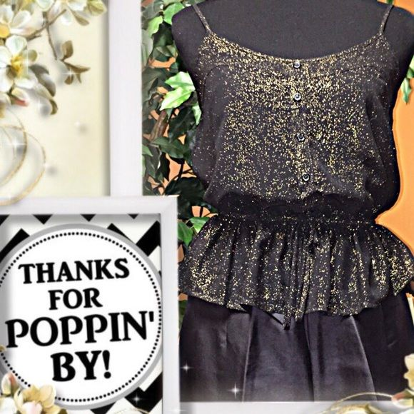 BAND OF GYPSIES SPARKLY BLOUSE This adorable blouse is black with gold glitter in the fabric.. Adjustable straps and elastic at waist with fabric tie Band of Gypsies Tops Blouses