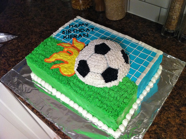 My nephew's 5th birthday cake.  He wanted a flaming soccer ball...