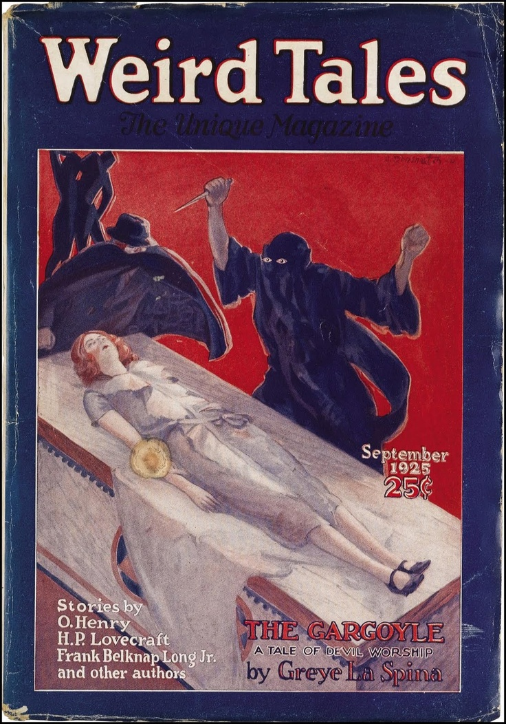 weird tales, september, 1925 - lovecraft gets a mention on the cover!