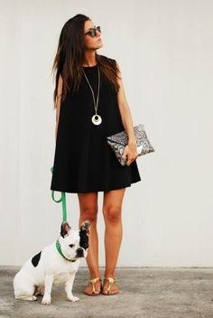 Black Dress & Sandals