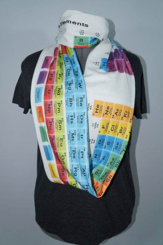 Periodic Table KNIT scarf white background by NerdAlertCreations