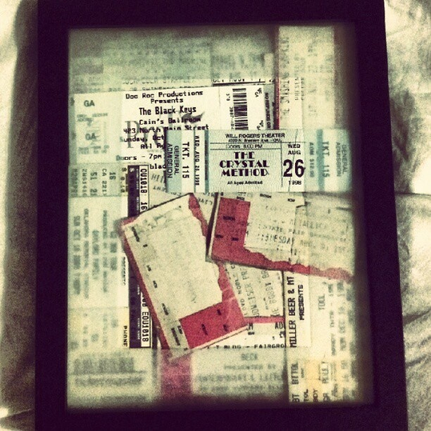 Music concert tickets old & new. Great memories.   — with U2, Rage Against the Machine, The Black Eyed Peas, Nirvana, Bobby Brown, Beck, The Crystal Method, Metallica, The Smashing Pumpkins, Kings of Leon, Korn, Filter, Michael W. Smith and Tool. There are more, you just can't see them.