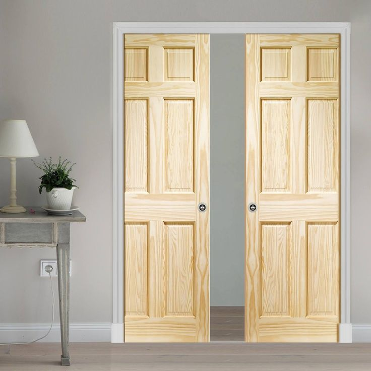 Double Pocket 6 Panel Pine Door with Raised & Fielded Panels. #pocketdoors #slidingpocketdoors #pinepocketdoors