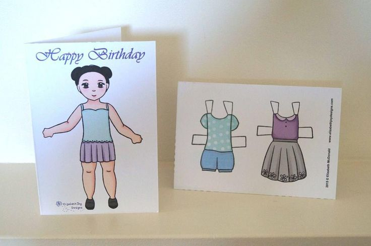 (8) Name: 'Paper Crafts : Paper Doll Birthday Card In Lilac