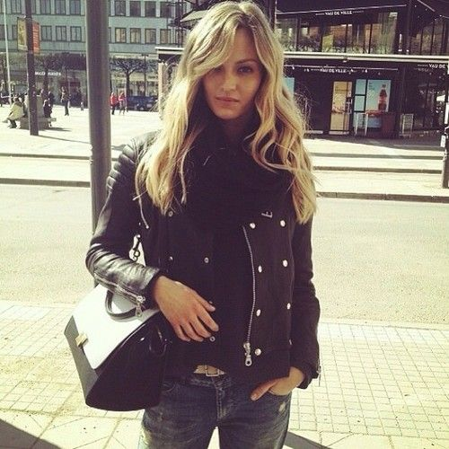 leather & loose waves