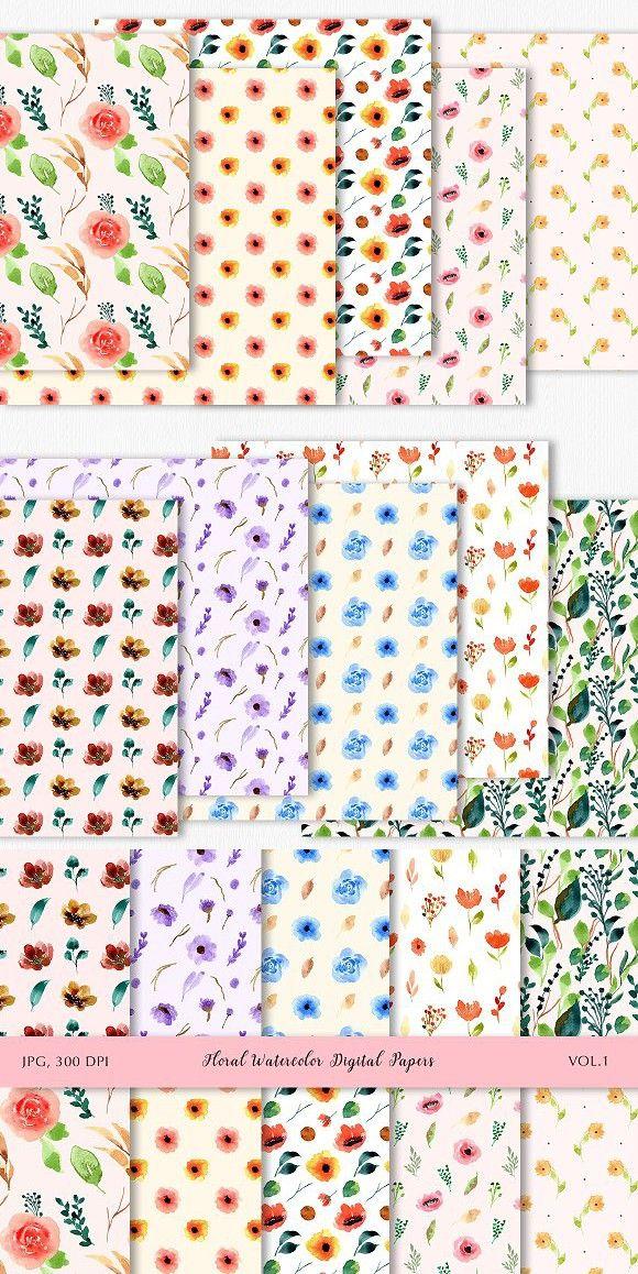 Floral Watercolor Digital Papers V 1 Floral Watercolor Digital Paper Floral Painting
