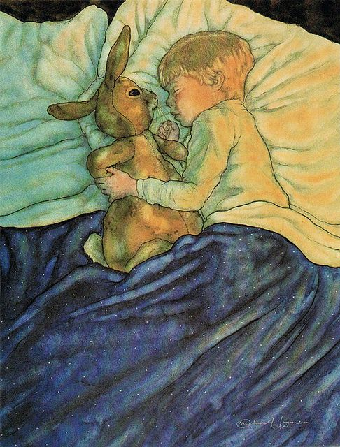 """That night, and for many nights after, the Velveteen Rabbit slept in the Boy's bed...the Boy hugged him very tight""  'The Velveteen Rabbit' by Margery Williams. Illustrated by Michael Hague © 1983  Publisher, Holt, Rinehart, and Winston / Holt McDougal:  via Plum leaves flickr"