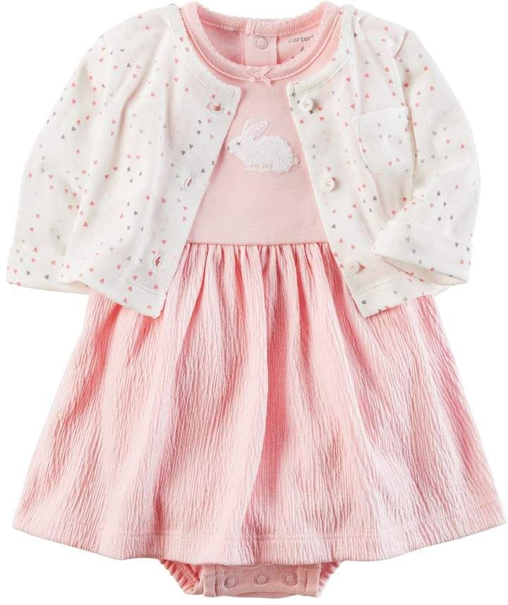 3d7fc6e45e1e Baby Girl Carter s Bunny Dress   Heart Cardigan Set