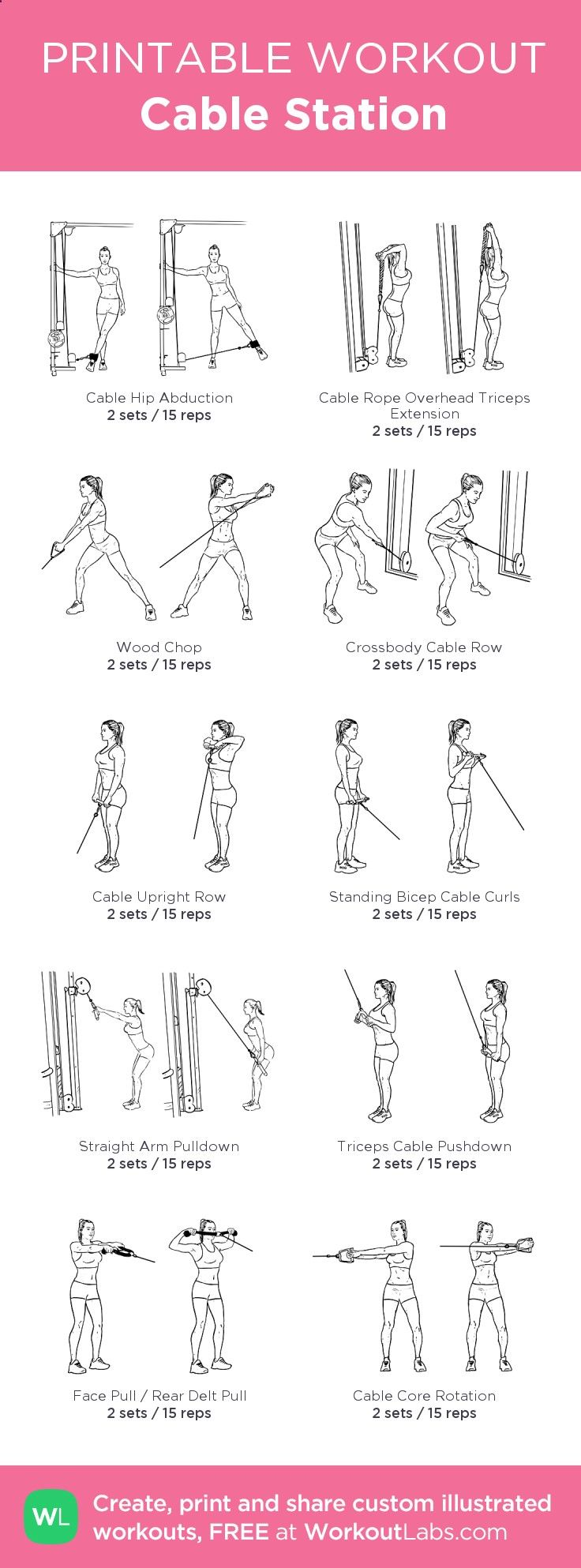 Cable Station:my visual workout created at WorkoutLabs.com • Click through to customize and download as a FREE PDF! #customworkout