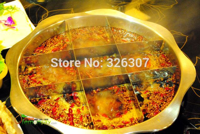 FREE SHIPPING 36cm Sichuan Chongqing China Nine Patch copper hot pot  Mongolian Chinese charcoal pot copper handmade,fire pot