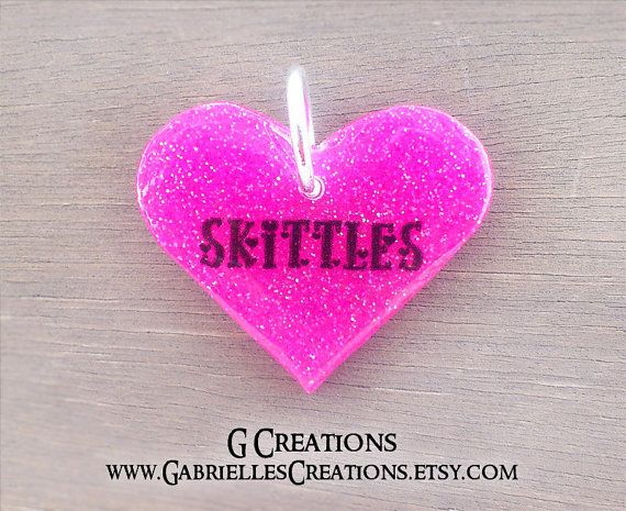 GLOW Heart Dog ID Tag  Pink Glitter Glow in by GabriellesCreations