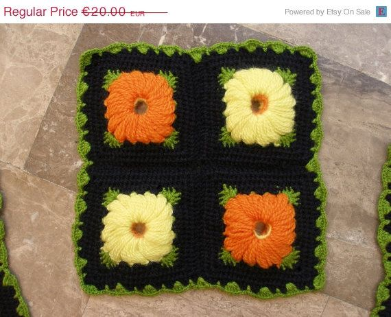 Orange and Yellow Daisies in Black Crochet Background! Vintage Square Seat Pad  Floral by VintageHomeStories,  #Vintage #HomeDecor #Cushion #SeatPad #Crochet #VintageHomeStories #Pillow