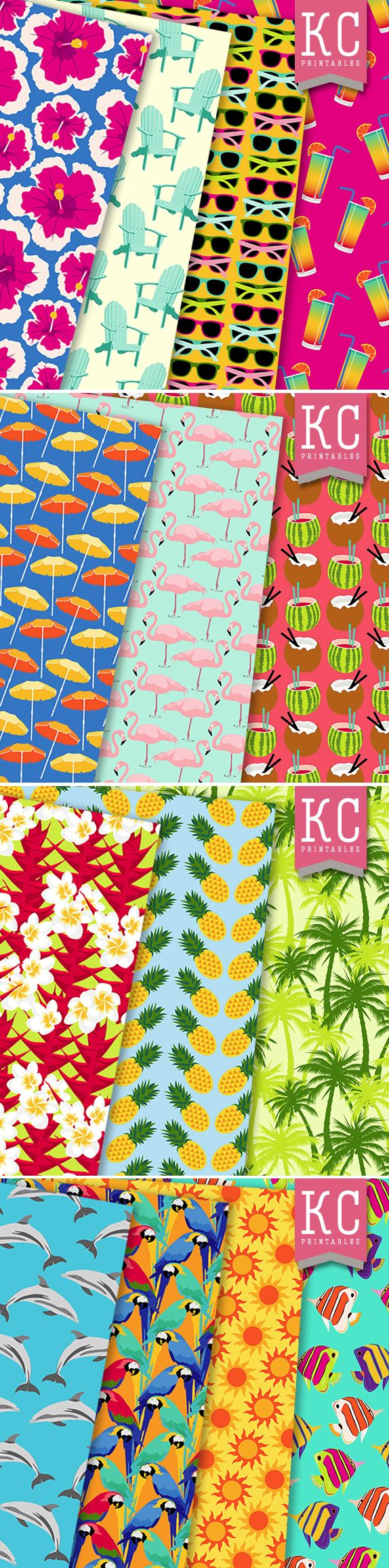 Tropical Twist scrapbooking papers from KCPrintables on Etsy www.etsy.com/uk/shop/KCPrintables #tropical #flamingo #cocktails #pineapple #illustration #pattern #sunglasses #floral #parrot #fish