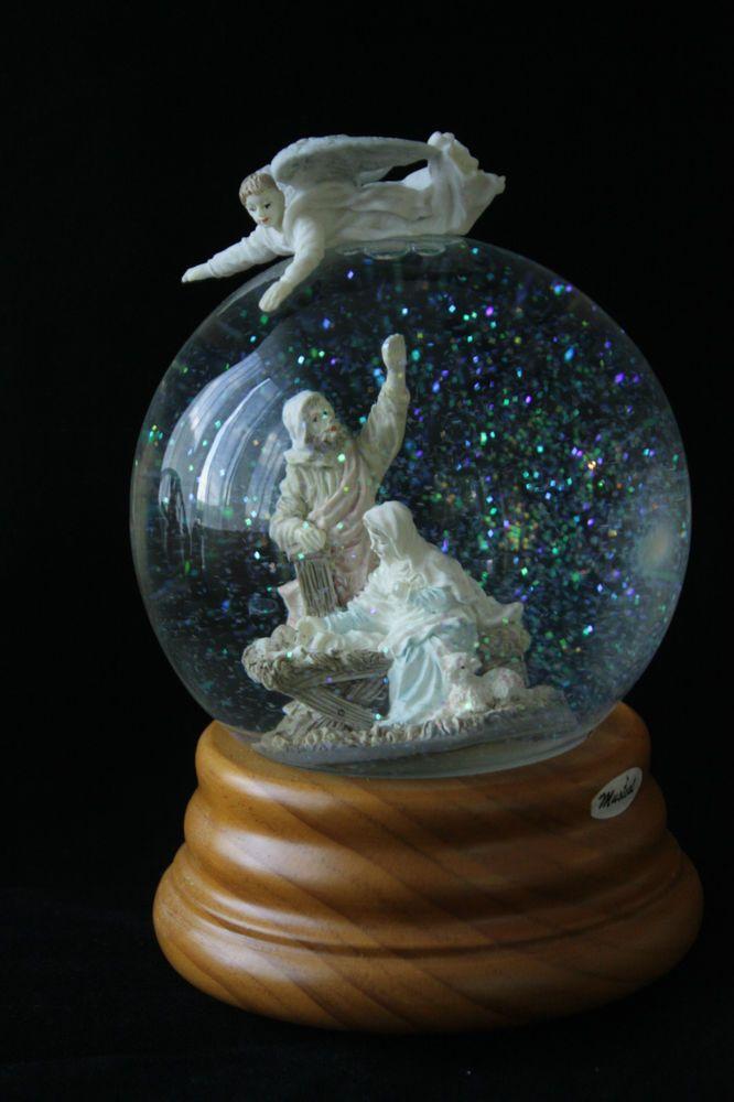 Vintage Musical Snow Globe Tune Silent Night Nativity Scene Angel Wood Base 1992