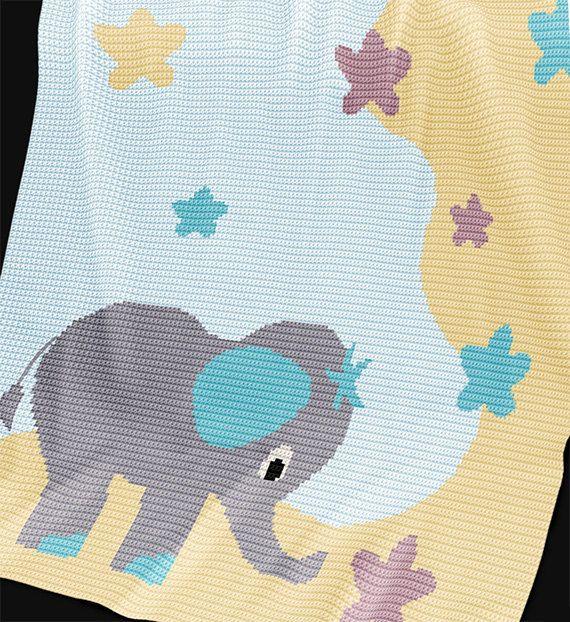 Crochet Pattern Baby Blanket Pattern Elephant by PatternWorldUK