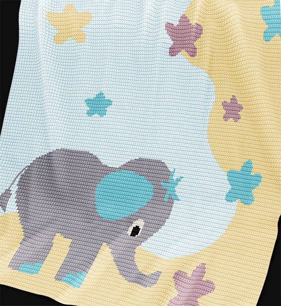 Patrón de ganchillo - patrón de la manta de bebé - Stargazer - ganchillo gráfico…
