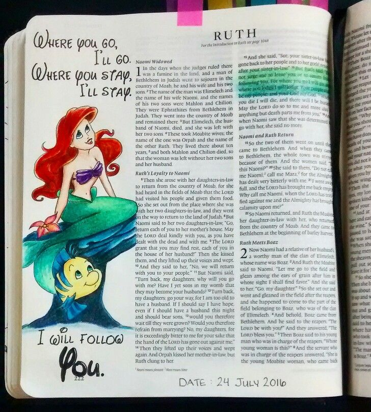 Bev Knaup bible journal Ruth 1:16  Flounder's loyalty to Ariel in the Little Mermaid reminds me of Ruth's loyalty to Naomi.
