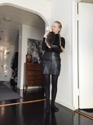 Black leather skirt made of my granny's old leather jacket