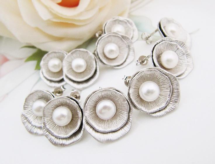 Set+of+3+Bridal+Earrings+Bridesmaid+Earrings+by+earringsnation,+$59.40