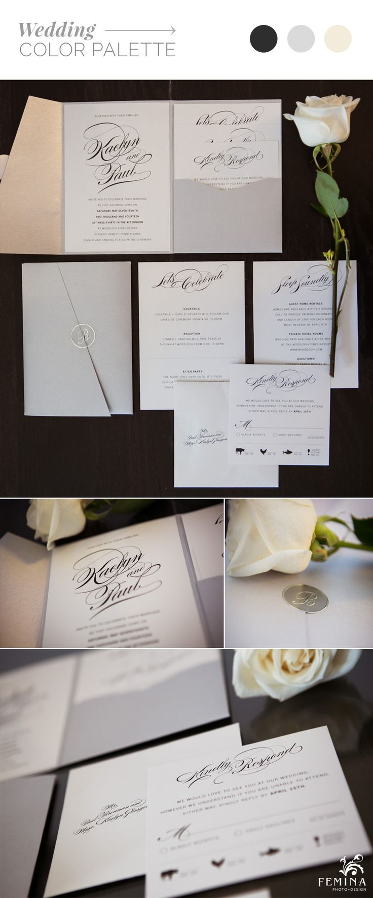 Ivory and light Silver pearlized invitations with