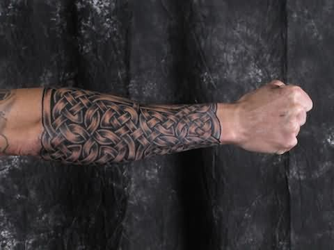 ✿ Tattoos ✿ Celtic ✿ Norse ✿ Right Sleeve Grey Ink Celtic Tattoo