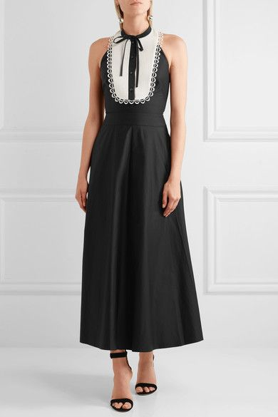 Temperley London - Fountain Lace-trimmed Cotton-poplin Midi Dress - Black - UK16