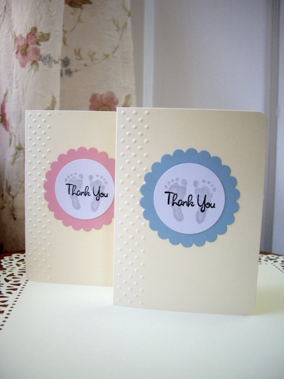 baby thank you cards footprint thank you cards by JDooreCreations