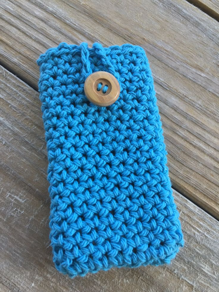 Crochet iPhone Phone Case, Bright Blue Phone Case, Smartphone Cover, cell phone case, unisex iphone cover, ipod case, wood buttoned case by TheHookster on Etsy