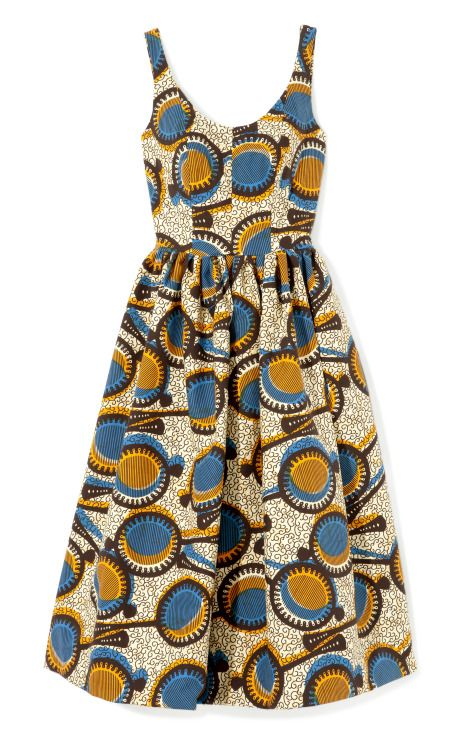 Shop Printed Wax Cotton Full Skirt Tank Dress by Stella Jean Now Available on Moda Operandi