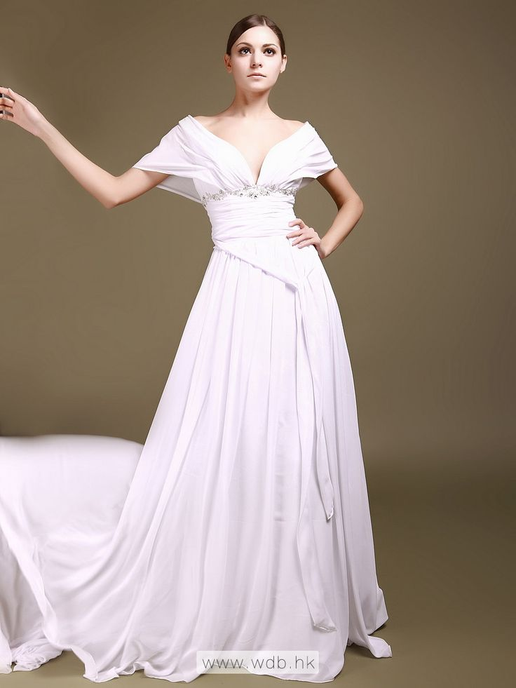 Off the Shoulder Chiffon Wedding Gown with Beading Details $218.98