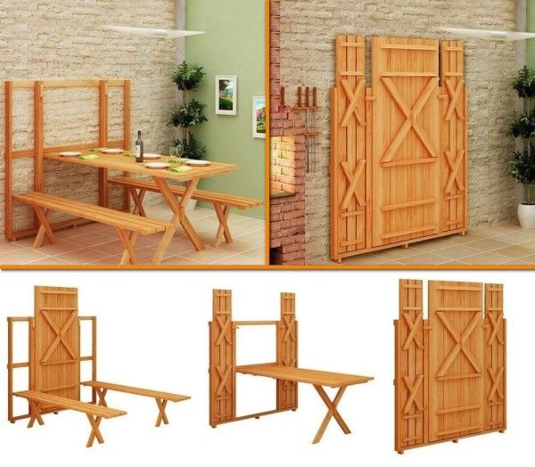 Save Space Using The Fold-Up Picnic Table And Bench - DIY - Find Fun Art Projects to Do at Home and Arts and Crafts Ideas