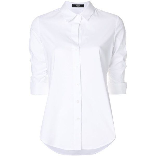 Steffen Schraut turn up sleeves shirt ($161) ❤ liked on Polyvore featuring tops, white, 3/4 sleeve tops, ruched top, slit sleeve top, rouched top and white collar shirt
