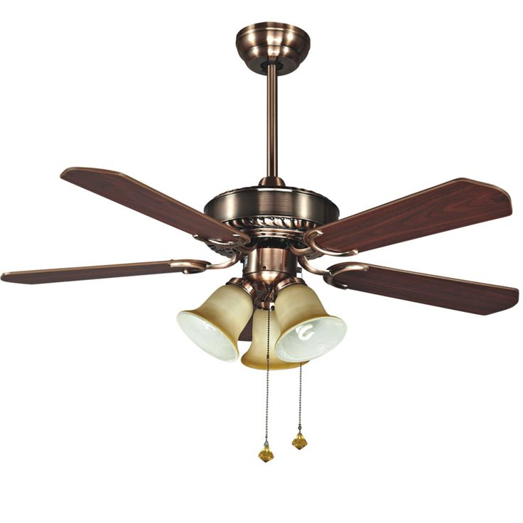 Popular red/green Bronze color wood copper Bronze color modern quiet ceiling fans with 3- E27 lights free shipping