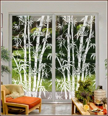 Etched glass design, Big Bamboo, is the perfect complement to rooms with a tropical, beach, casual, Asian or Oriental decor.  Decorate sliding glass doors, French doors, storm doors, entry doors and large windows with this beautiful etched glass artwork of a stand of big bamboo.