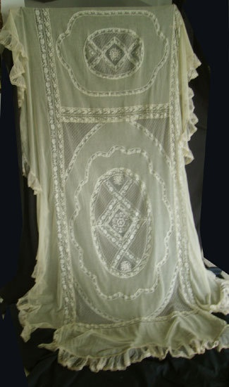 1920s Vintage French Normandy Lace Bedspread