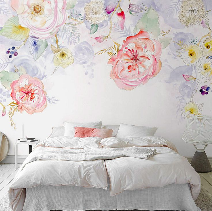 Watercolor Blooms Wallpaper Fresh Spring Flower & Leaves