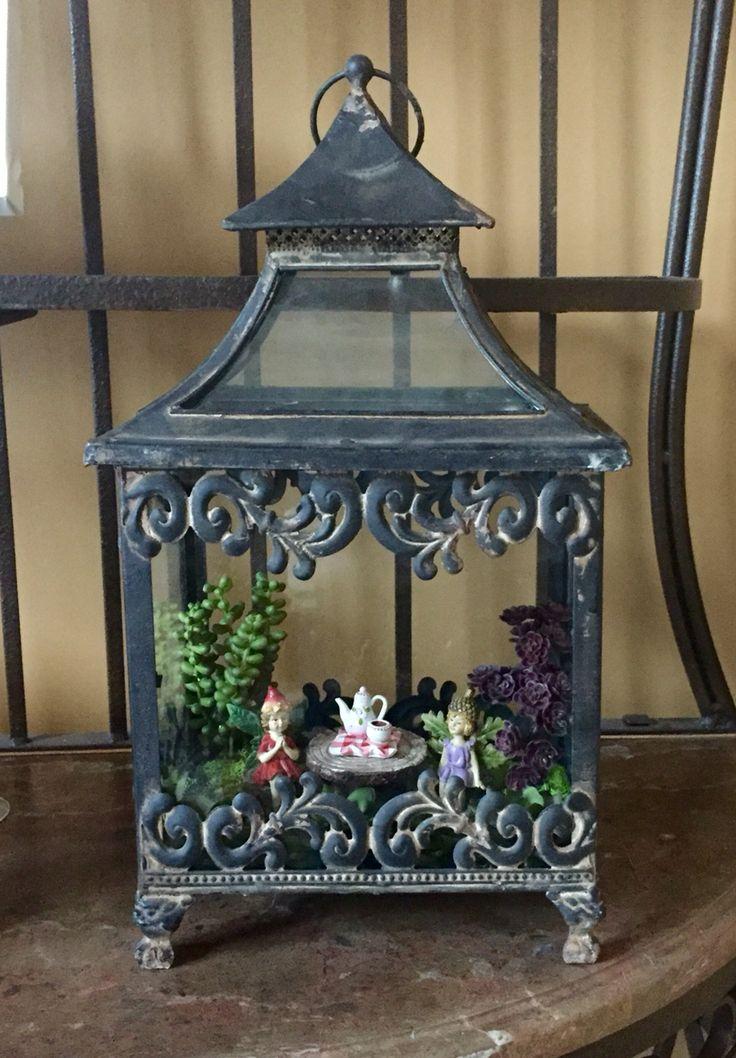 My Fairy Garden in a Lantern