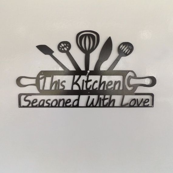 Hey, I found this really awesome Etsy listing at https://www.etsy.com/listing/216668253/metal-kitchen-sign-this-kitchen-seasoned
