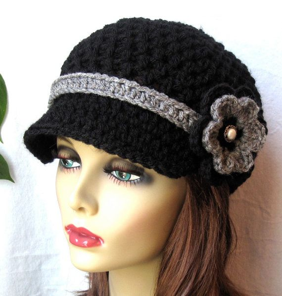 Womens Hat Teen Black Newsboy Grey Band Flower By