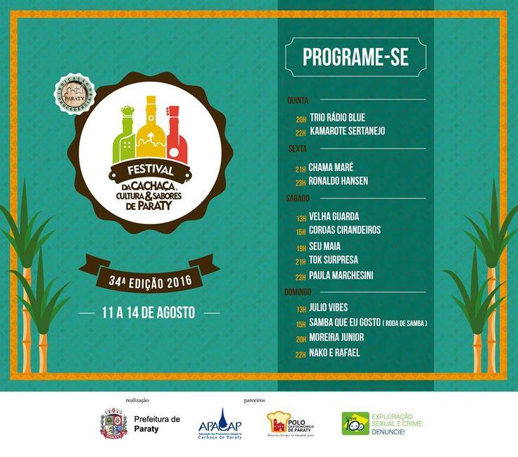 XXXIV Festival da Cachaça, Cultura e Sabores de Paraty  Realizado desde 1982, quando começou com o nome Festival da Pinga e Produtos Típicos de Paraty, é um dos eventos mais tradicionais da cidade, atraindo um grande público.  A abertura oficial do 34º Festival da Cachaça, Cultura e Sabores de Paraty será no dia 11 de agosto a partir das 20h. O evento acontecerá de quinta a domingo (11 a 14 de agosto) no areal do Pontal. #FestivalDaCachaça #FestivalDaCachaçaParaty #FestivalDaPinga