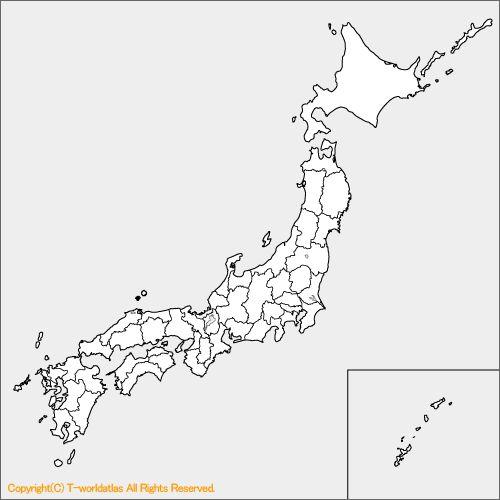 日本地図の白地図
