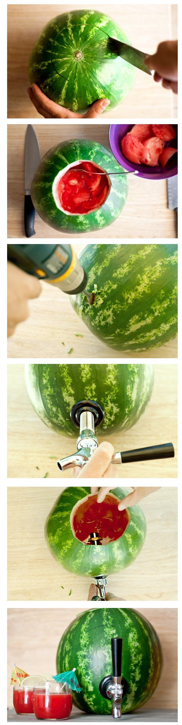 Easy to make DIY Watermelon Drink Dispenser-saved the spouts from broken containers for this;)