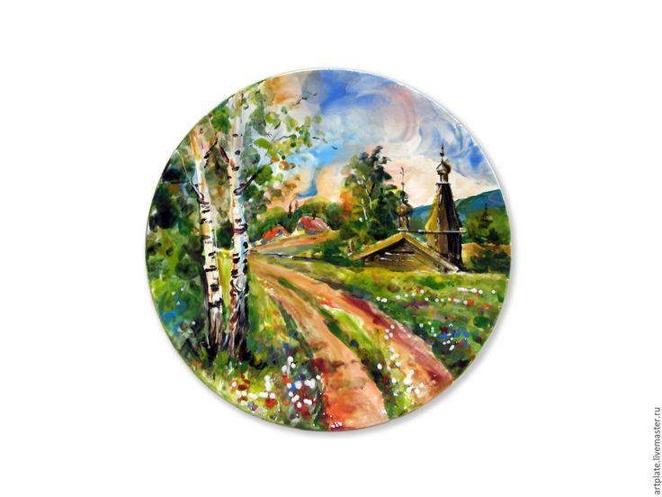 """Купить Керамическая тарелка """"Летний пейзаж"""". - разноцветный, Керамика, керамическая тарелка, керамическая посуда"""